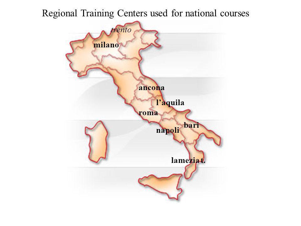 milano bari napoli lamezia t. roma ancona trento laquila Regional Training Centers used for national courses