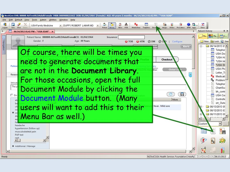 Of course, there will be times you need to generate documents that are not in the Document Library. For those occasions, open the full Document Module