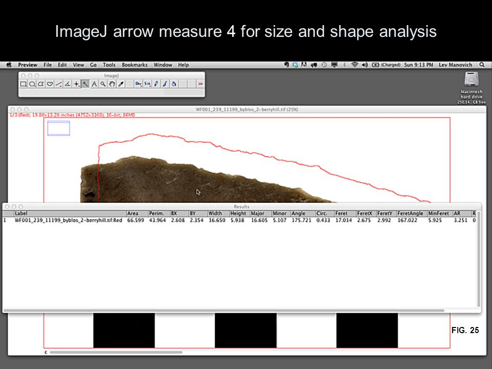 ImageJ arrow measure 4 for size and shape analysis FIG. 25