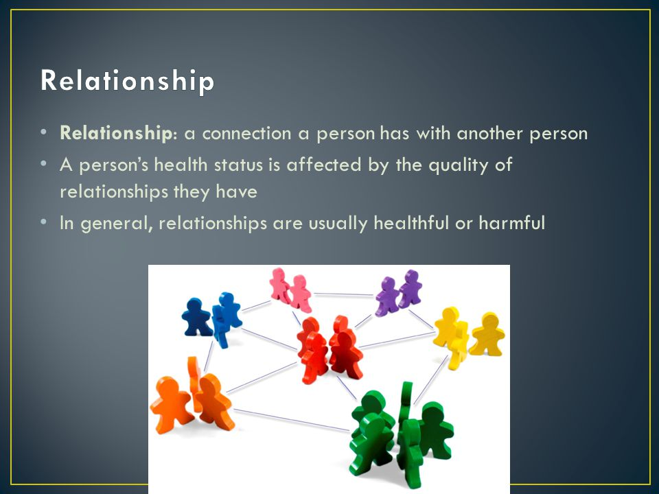 Relationship: a connection a person has with another person A persons health status is affected by the quality of relationships they have In general,