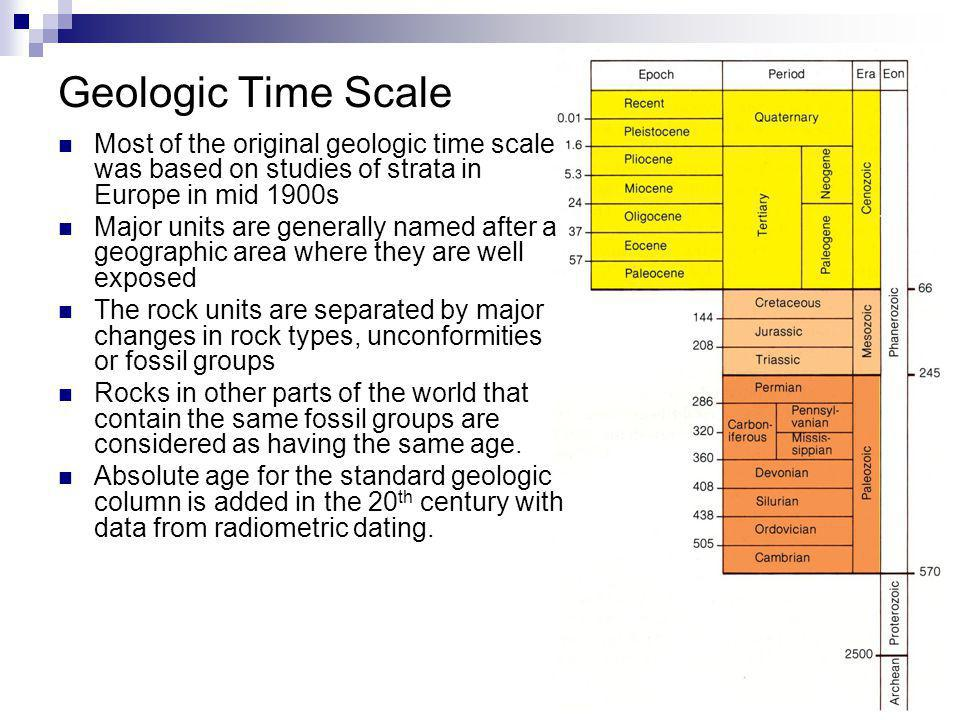 18 Most of the original geologic time scale was based on studies of strata in Europe in mid 1900s Major units are generally named after a geographic a