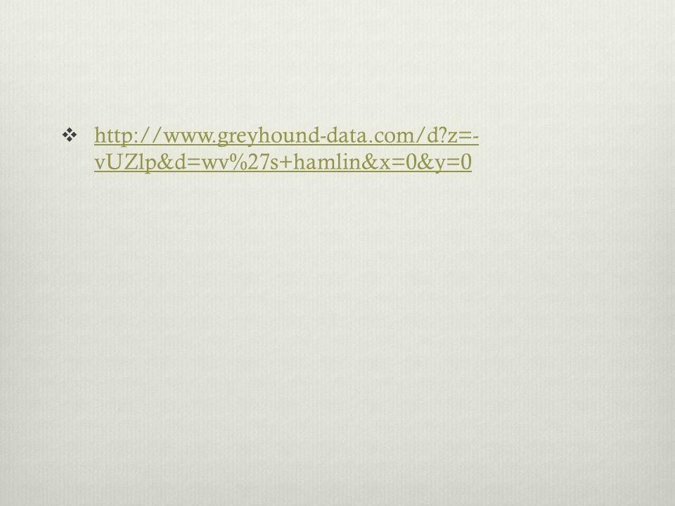 http://www.greyhound-data.com/d?z=- vUZlp&d=wv%27s+hamlin&x=0&y=0 http://www.greyhound-data.com/d?z=- vUZlp&d=wv%27s+hamlin&x=0&y=0