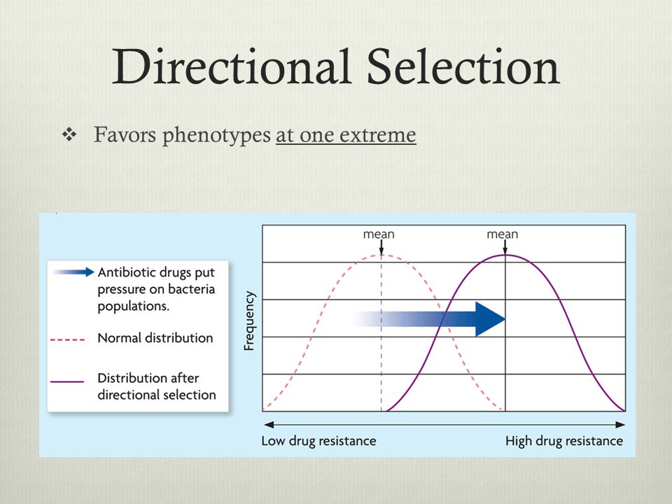 Directional Selection Favors phenotypes at one extreme