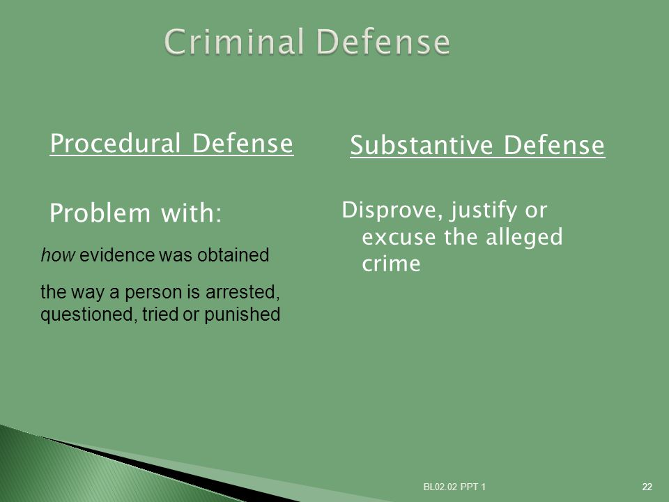 Procedural Defense Problem with: Substantive Defense BL02.02 PPT 122 how evidence was obtained the way a person is arrested, questioned, tried or punished Disprove, justify or excuse the alleged crime