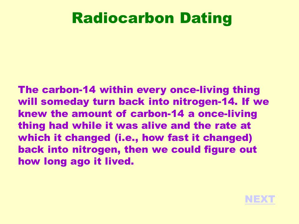 The carbon-14 within every once-living thing will someday turn back into nitrogen-14. If we knew the amount of carbon-14 a once-living thing had while