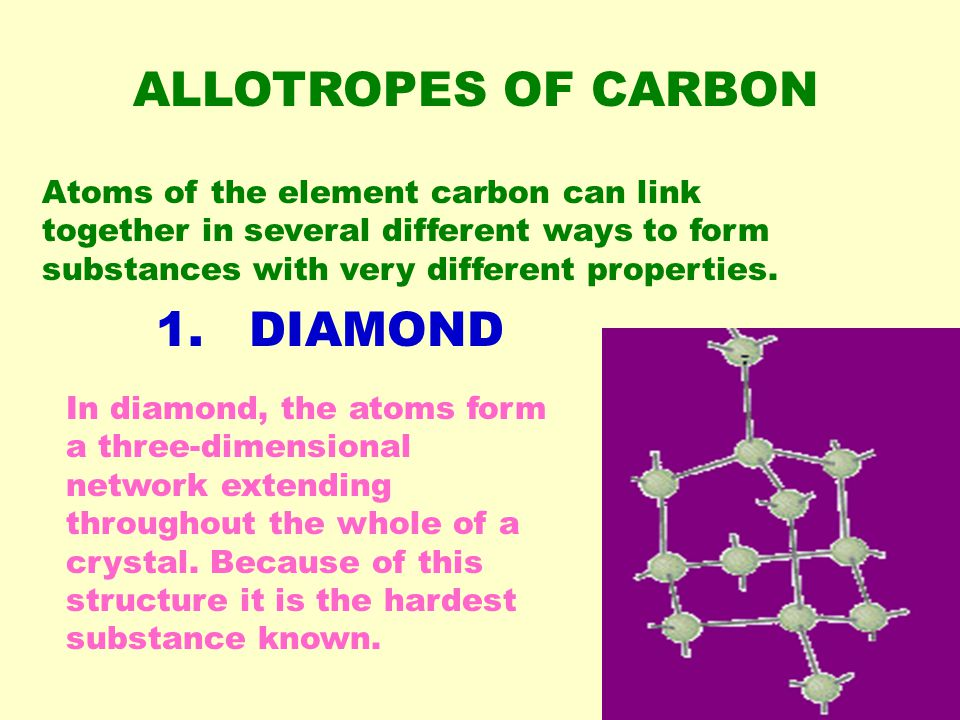 Atoms of the element carbon can link together in several different ways to form substances with very different properties. In diamond, the atoms form