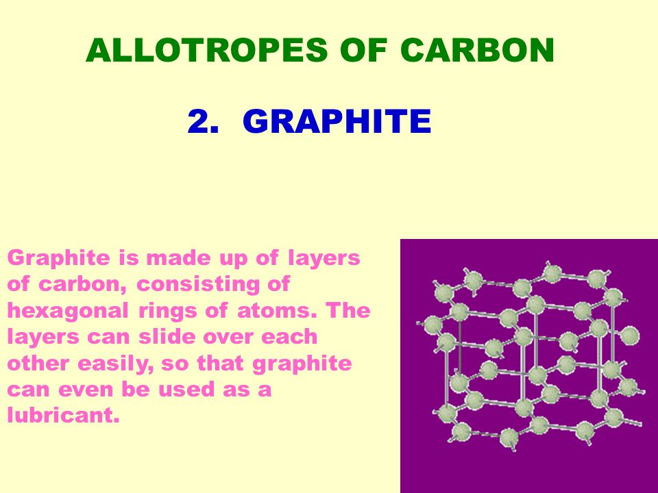 ALLOTROPES OF CARBON Graphite is made up of layers of carbon, consisting of hexagonal rings of atoms.