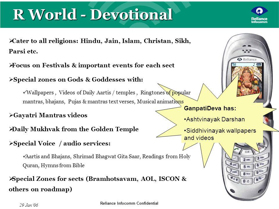 Reliance Infocomm Confidential 29 Jan06 GanpatiDeva has: Ashtvinayak Darshan Siddhivinayak wallpapers and videos R World - Devotional Cater to all rel