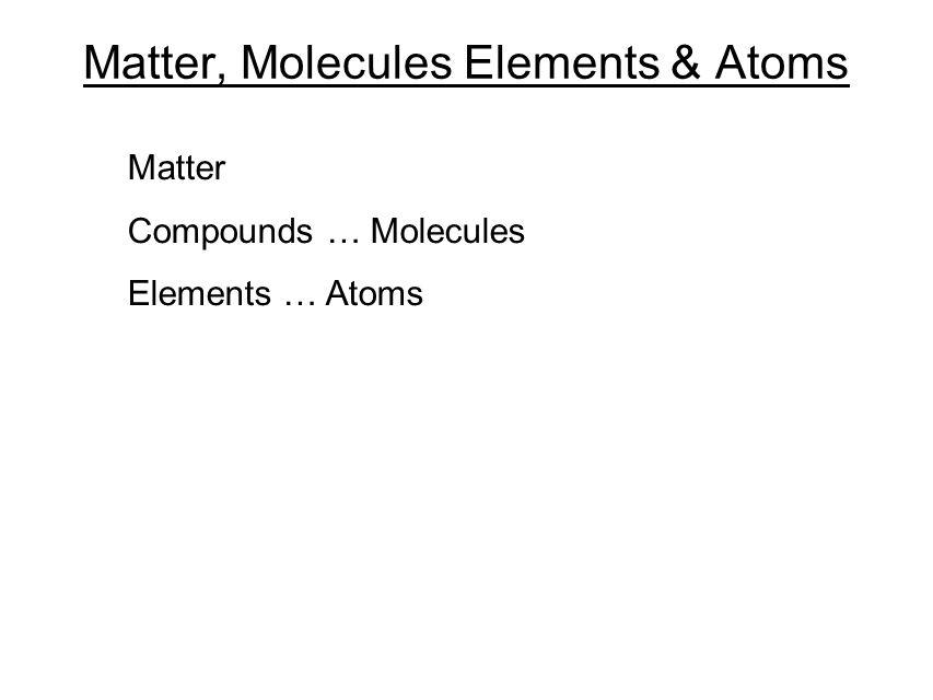 Matter, Molecules Elements & Atoms Matter Compounds … Molecules Elements … Atoms