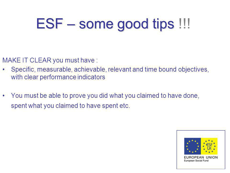 ESF – some good tips ESF – some good tips !!.