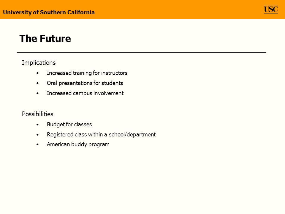The Future Implications Increased training for instructors Oral presentations for students Increased campus involvement Possibilities Budget for classes Registered class within a school/department American buddy program University of Southern California