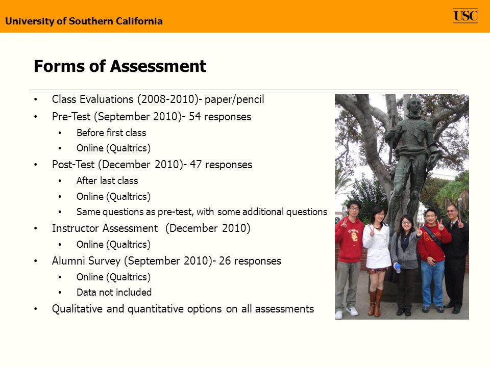 Forms of Assessment Class Evaluations (2008-2010)- paper/pencil Pre-Test (September 2010)- 54 responses Before first class Online (Qualtrics) Post-Test (December 2010)- 47 responses After last class Online (Qualtrics) Same questions as pre-test, with some additional questions Instructor Assessment (December 2010) Online (Qualtrics) Alumni Survey (September 2010)- 26 responses Online (Qualtrics) Data not included Qualitative and quantitative options on all assessments University of Southern California