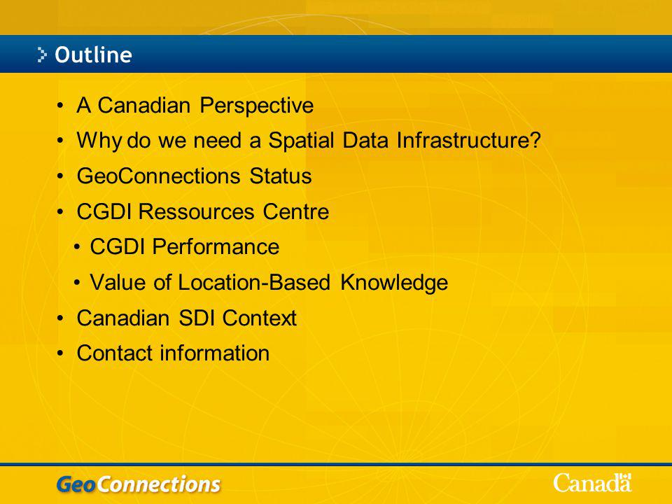 Outline A Canadian Perspective Why do we need a Spatial Data Infrastructure.