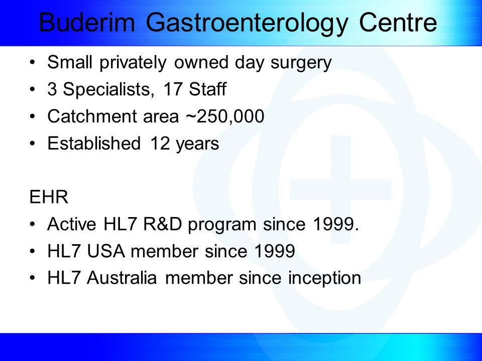 Buderim Gastroenterology Centre Small privately owned day surgery 3 Specialists, 17 Staff Catchment area ~250,000 Established 12 years EHR Active HL7 R&D program since 1999.