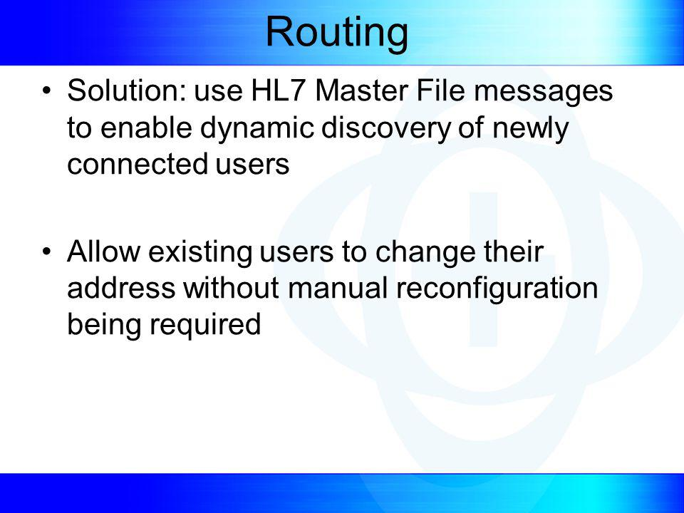 Routing Solution: use HL7 Master File messages to enable dynamic discovery of newly connected users Allow existing users to change their address without manual reconfiguration being required