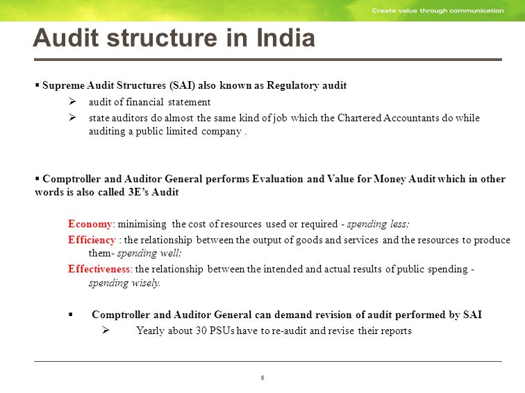 7 Three vital differences between Statutory and CAG audit The CAG s reports on government companies highlights avoidable/wasteful expenditure, loss of revenue, losses owing to the inefficiency of managements, improprieties and so on.