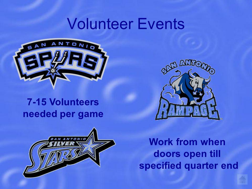 Volunteer Events 7-15 Volunteers needed per game Work from when doors open till specified quarter end