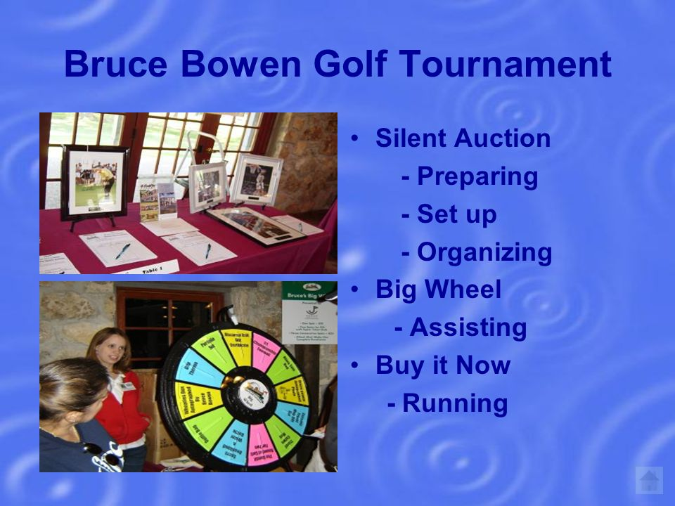 Bruce Bowen Golf Tournament Silent Auction - Preparing - Set up - Organizing Big Wheel - Assisting Buy it Now - Running