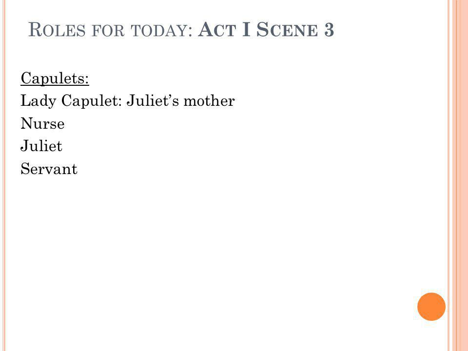 A CT ONE, SCENE TWO Q UESTIONS 1) Why does Capulet think he and Montague will keep the peace.