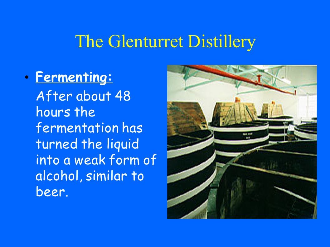 The Glenturret Distillery Milling: The grist (flour) is mixed with hot water in the mash tun, a large circular metal vessel.