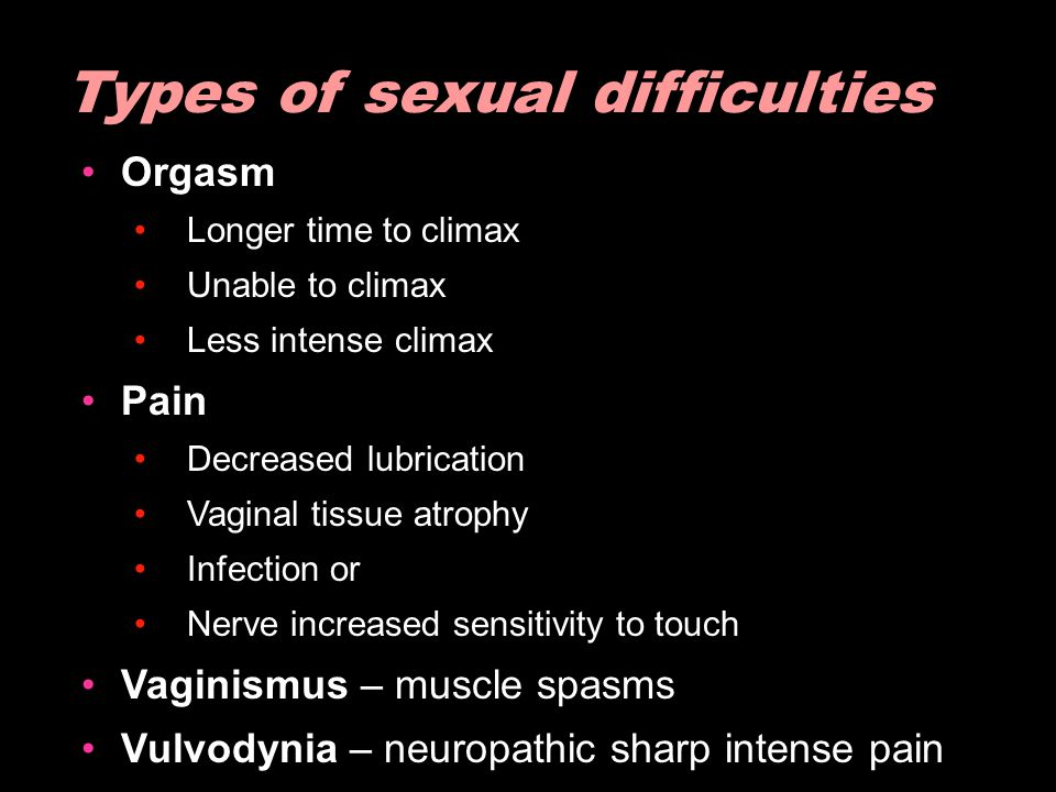Orgasm Longer time to climax Unable to climax Less intense climax Pain Decreased lubrication Vaginal tissue atrophy Infection or Nerve increased sensi