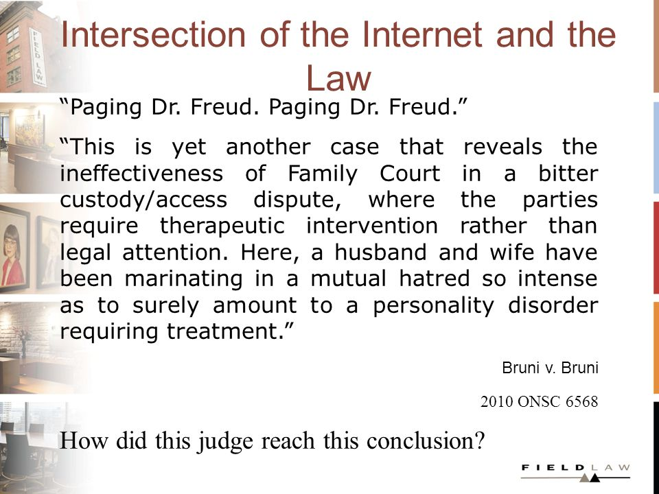 Intersection of the Internet and the Law Paging Dr.