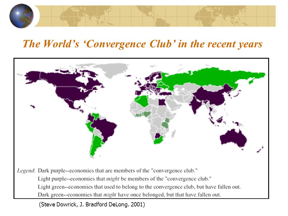 The Worlds Convergence Club in the recent years (Steve Dowrick, J. Bradford DeLong. 2001)