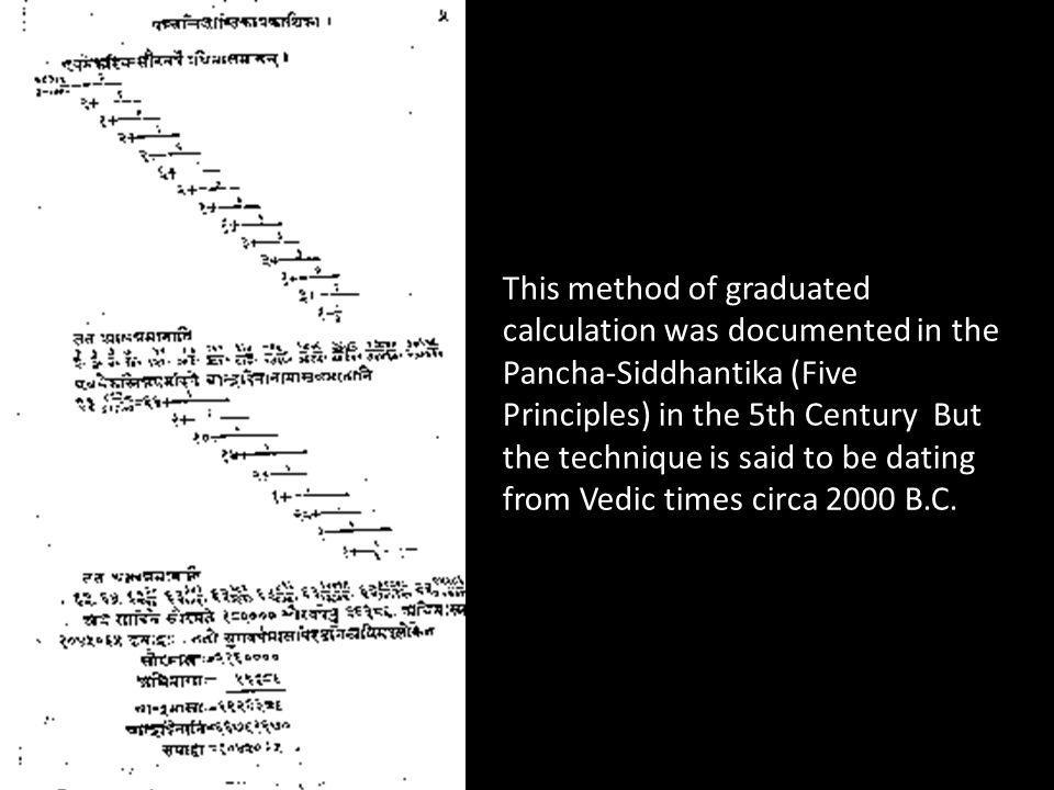 This method of graduated calculation was documented in the Pancha-Siddhantika (Five Principles) in the 5th Century But the technique is said to be dat