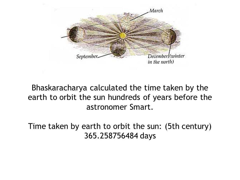 Bhaskaracharya calculated the time taken by the earth to orbit the sun hundreds of years before the astronomer Smart. Time taken by earth to orbit the