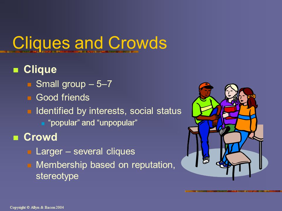 Copyright © Allyn & Bacon 2004 Cliques and Crowds Clique Small group – 5–7 Good friends Identified by interests, social status popular and unpopular C
