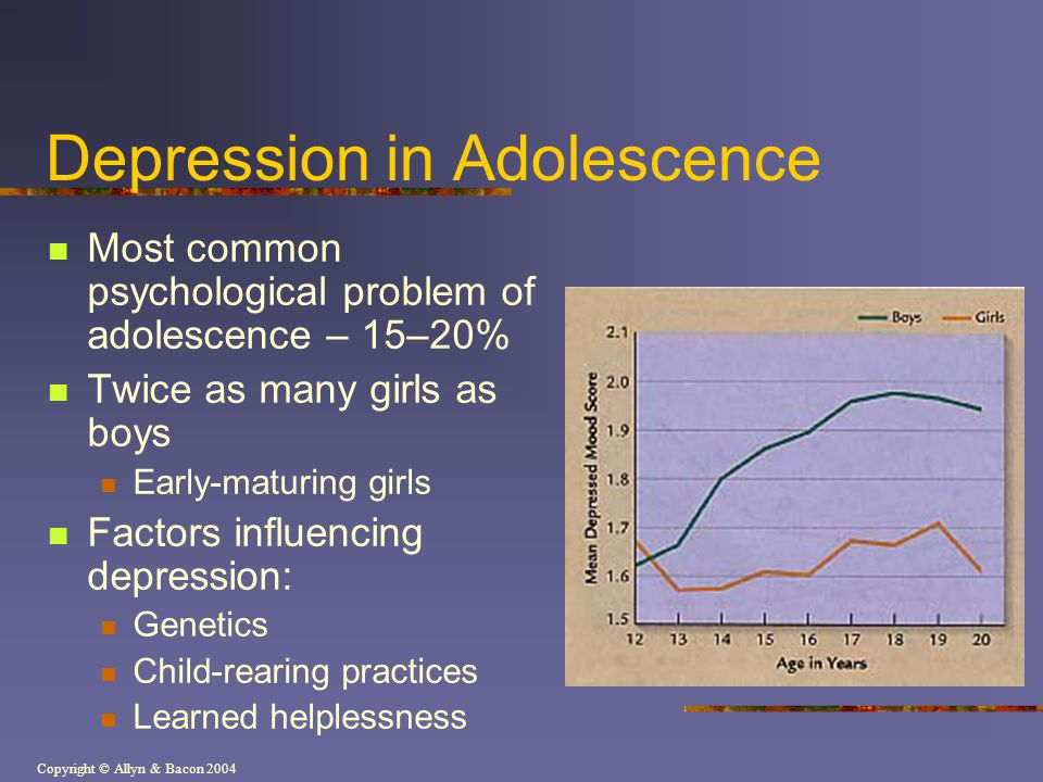 Copyright © Allyn & Bacon 2004 Depression in Adolescence Most common psychological problem of adolescence – 15–20% Twice as many girls as boys Early-m