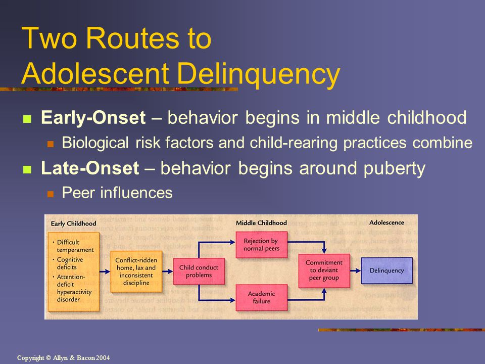 Copyright © Allyn & Bacon 2004 Two Routes to Adolescent Delinquency Early-Onset – behavior begins in middle childhood Biological risk factors and chil