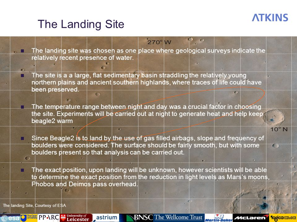 The Landing Site The landing site was chosen as one place where geological surveys indicate the relatively recent presence of water. The site is a a l