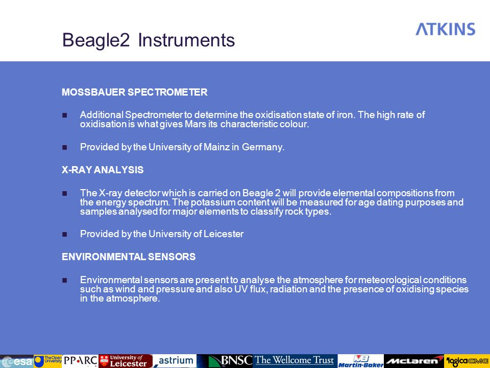 Beagle2 Instruments MOSSBAUER SPECTROMETER Additional Spectrometer to determine the oxidisation state of iron. The high rate of oxidisation is what gi