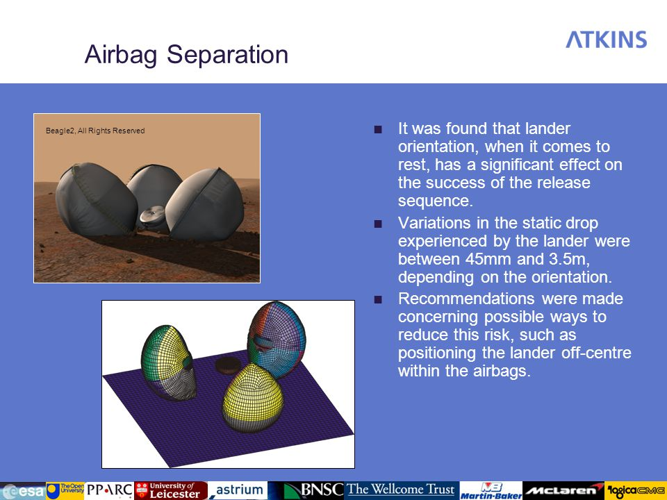 Airbag Separation It was found that lander orientation, when it comes to rest, has a significant effect on the success of the release sequence. Variat