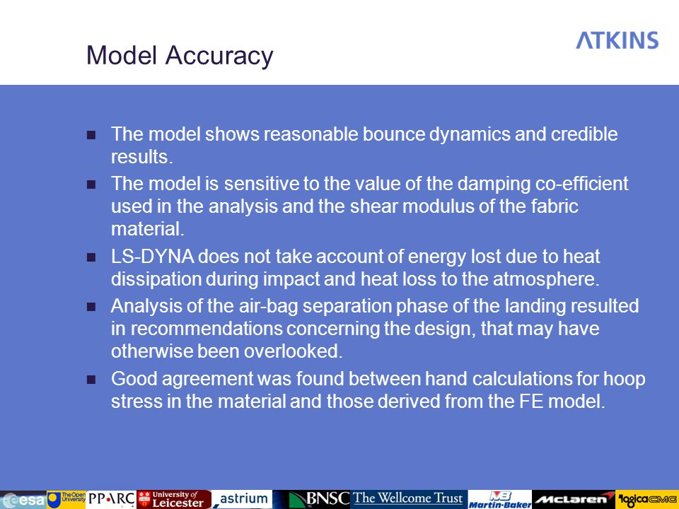 Model Accuracy The model shows reasonable bounce dynamics and credible results. The model is sensitive to the value of the damping co-efficient used i