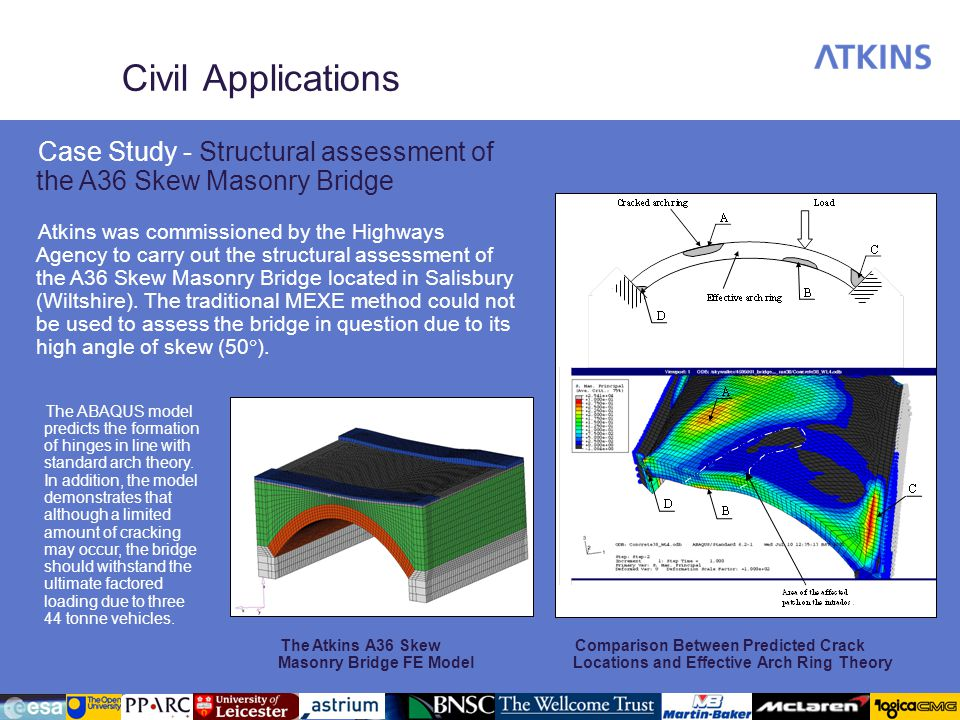 Civil Applications The Atkins A36 Skew Masonry Bridge FE Model Comparison Between Predicted Crack Locations and Effective Arch Ring Theory Case Study - Structural assessment of the A36 Skew Masonry Bridge Atkins was commissioned by the Highways Agency to carry out the structural assessment of the A36 Skew Masonry Bridge located in Salisbury (Wiltshire).