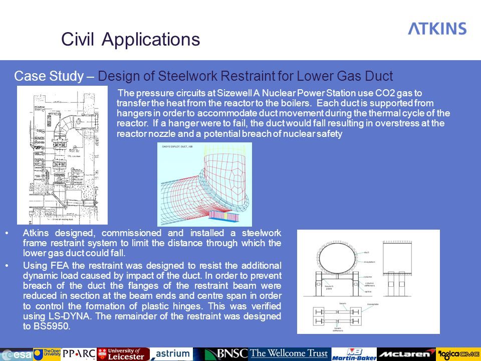 Civil Applications Case Study – Design of Steelwork Restraint for Lower Gas Duct The pressure circuits at Sizewell A Nuclear Power Station use CO2 gas