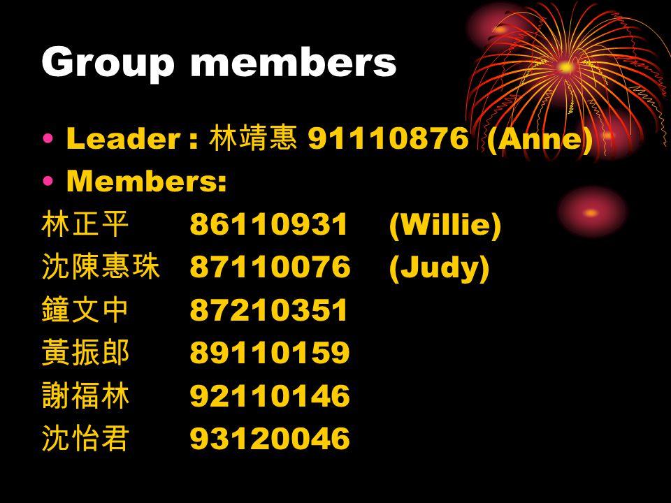 Group members Leader : 91110876 (Anne) Members: 86110931 (Willie) 87110076 (Judy) 87210351 89110159 92110146 93120046