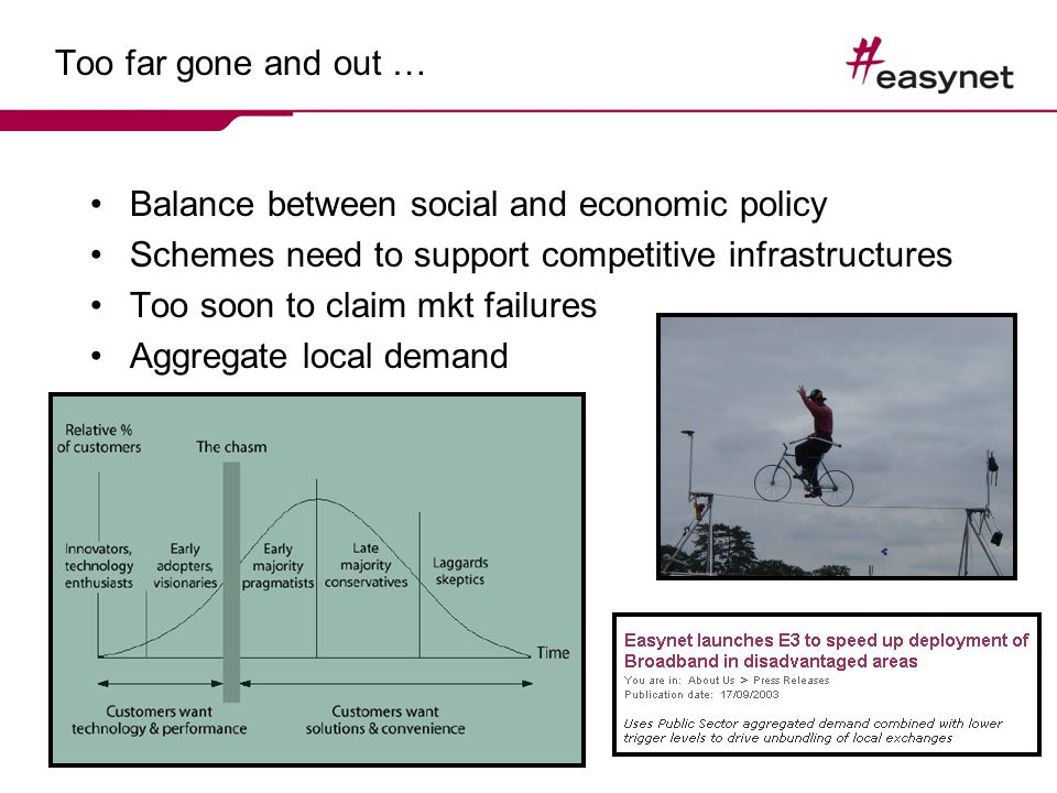 Too far gone and out … Balance between social and economic policy Schemes need to support competitive infrastructures Too soon to claim mkt failures Aggregate local demand