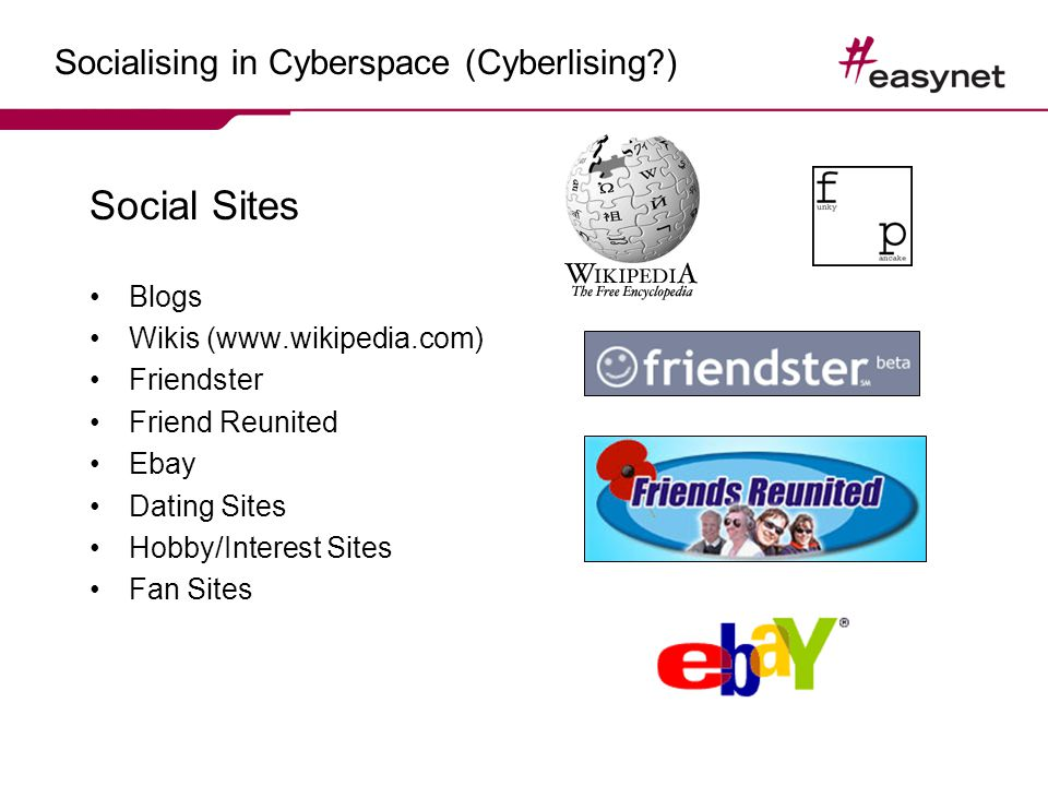 Socialising in Cyberspace (Cyberlising?) Social Sites Blogs Wikis (www.wikipedia.com) Friendster Friend Reunited Ebay Dating Sites Hobby/Interest Sites Fan Sites