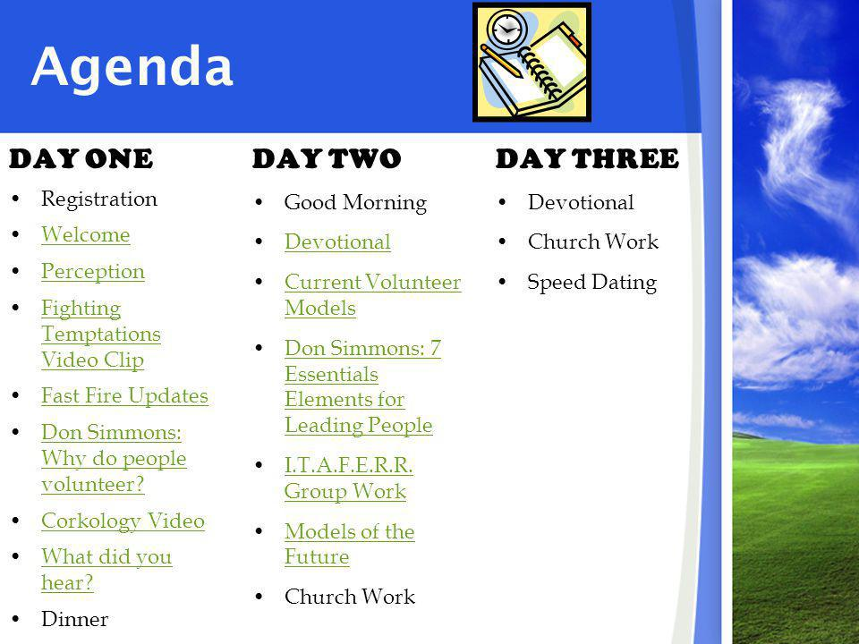 Agenda DAY ONE Registration Welcome Perception Fighting Temptations Video ClipFighting Temptations Video Clip Fast Fire Updates Don Simmons: Why do people volunteer Don Simmons: Why do people volunteer.