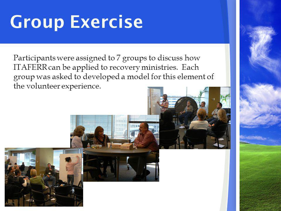 Group Exercise Participants were assigned to 7 groups to discuss how ITAFERR can be applied to recovery ministries.