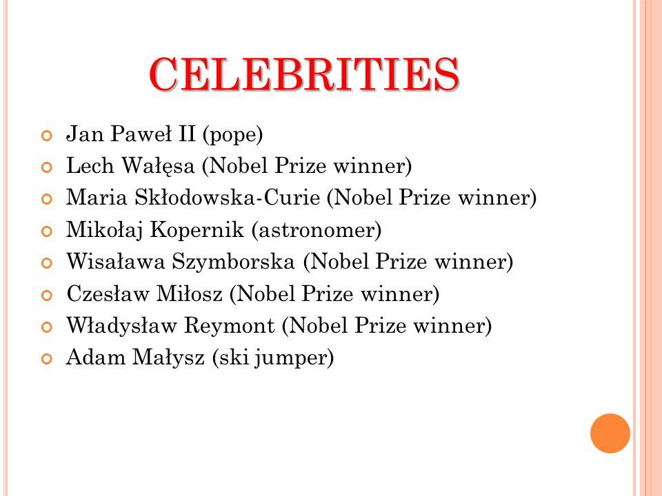 CELEBRITIES Jan Paweł II (pope) Lech Wałęsa (Nobel Prize winner) Maria Skłodowska-Curie (Nobel Prize winner) Mikołaj Kopernik (astronomer) Wisaława Szymborska (Nobel Prize winner) Czesław Miłosz (Nobel Prize winner) Władysław Reymont (Nobel Prize winner) Adam Małysz (ski jumper)
