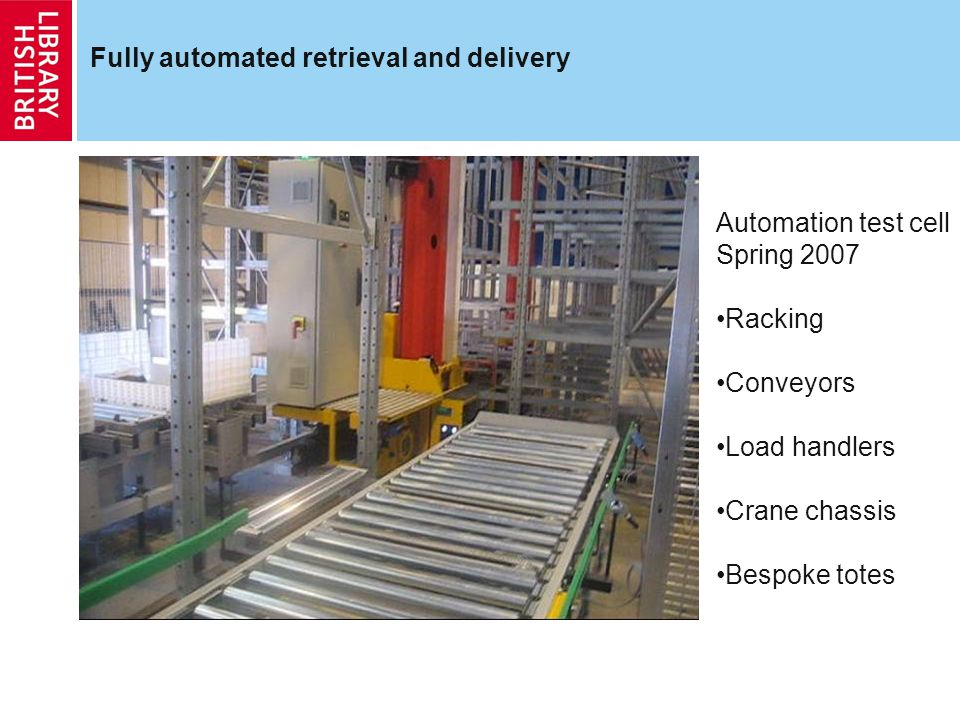 Fully automated retrieval and delivery Automation test cell Spring 2007 Racking Conveyors Load handlers Crane chassis Bespoke totes
