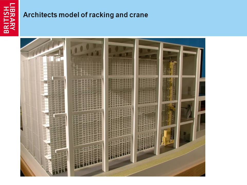 Architects model of racking and crane