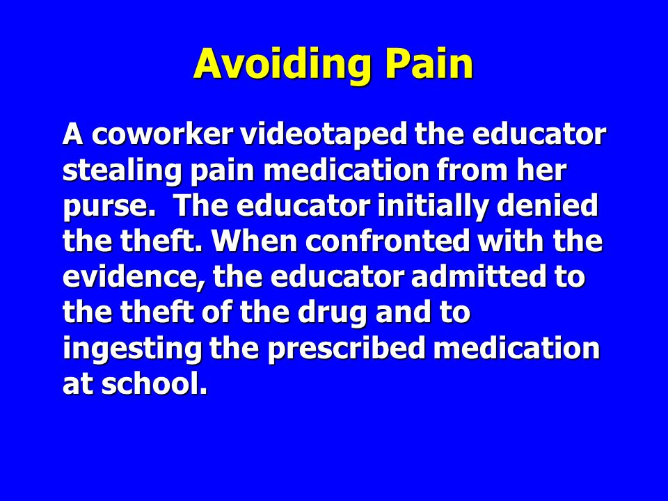 Avoiding Pain A coworker videotaped the educator stealing pain medication from her purse.