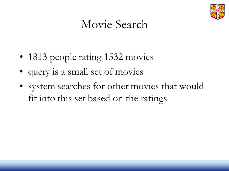 Movie Search 1813 people rating 1532 movies query is a small set of movies system searches for other movies that would fit into this set based on the ratings