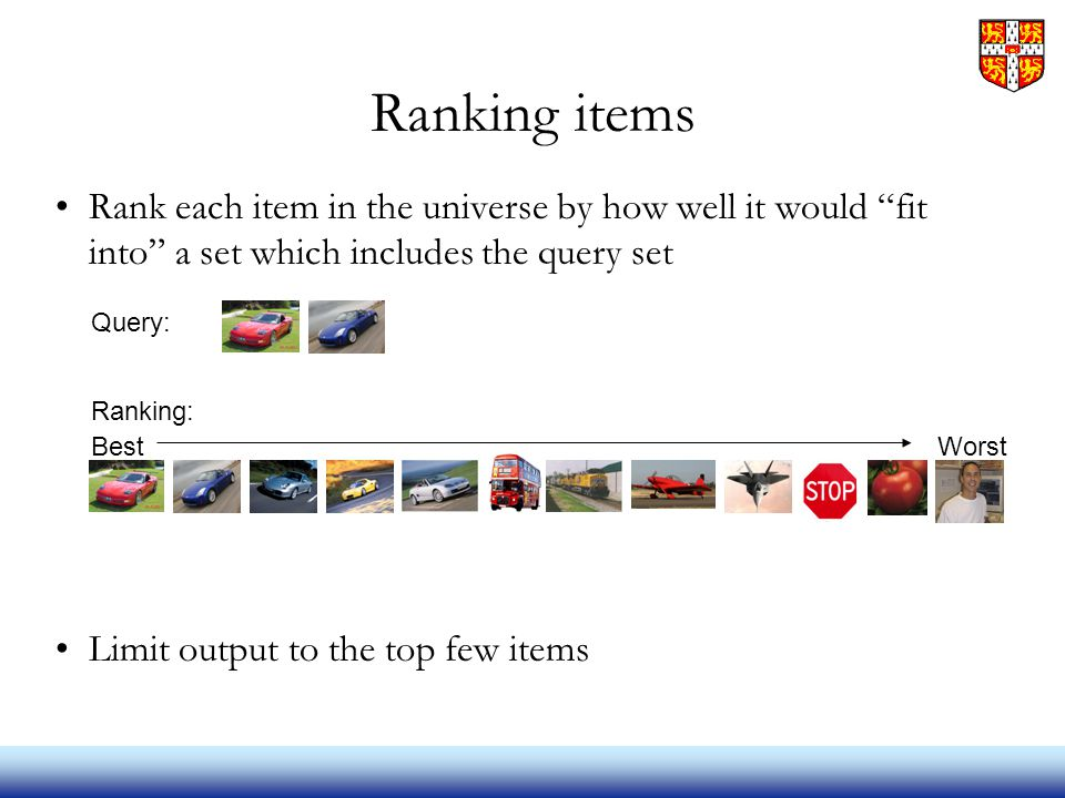 Ranking items Rank each item in the universe by how well it would fit into a set which includes the query set Limit output to the top few items Query: Ranking: BestWorst