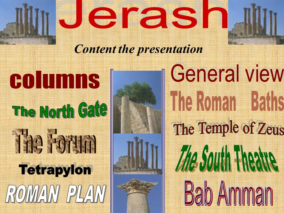 بسم الله الرحمن الرحيم **presentation about jerash Prepared By : Nainawa + Eqbal+seneen+ mais+amany